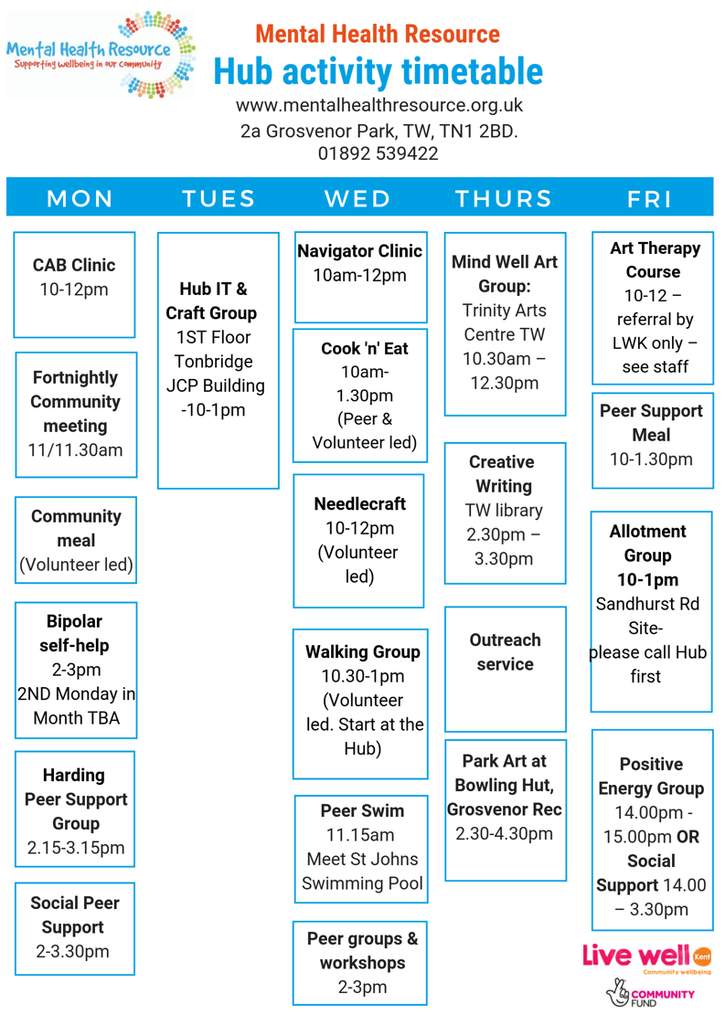 Mental Health Resource Hub timetable